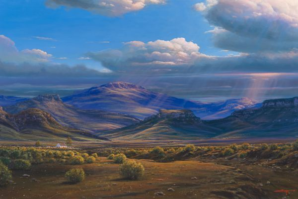 Dry river bed, Karoo painting