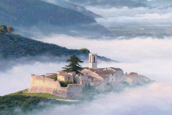 Campello Alto castle, Umbria Italy painting