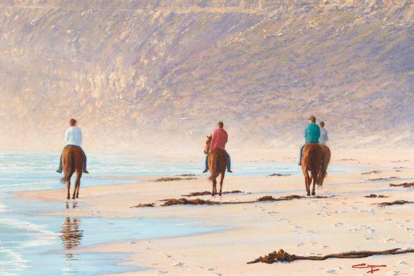 Riders In The Mist, Noordhoek painting