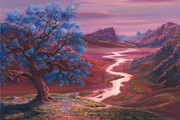 Tree Of Life, Blue Blossoms painting