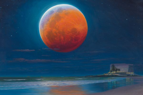 Blood Moon, Plettenberg Bay painting