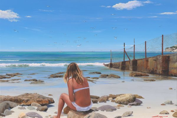 Girl Day Dreaming, Arniston Slipway painting