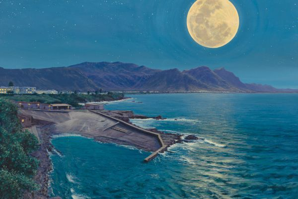 Full Moon, Old Harbour Hermanus painting